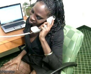 Ebony shemale secretary strips off