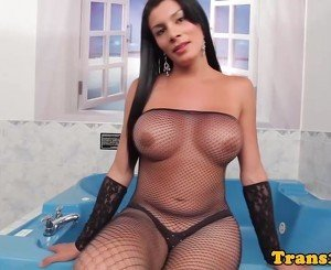 Latina tranny facialized after