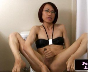 Kinky spex ladyboy toys ass while