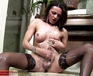 Latina tranny gets her boobs and