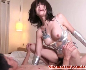 Japanese ladyboy dominates dude