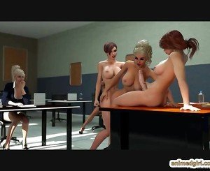 Busty 3d anime shemale gangbanged