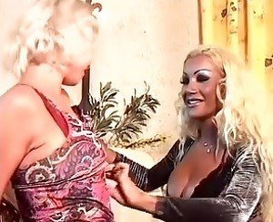 Cute blonde fucked by guy & shemale
