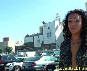 Bigtitted black tgirl tugging