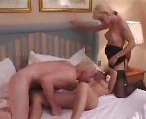 Amateur shemale and couple in hotel