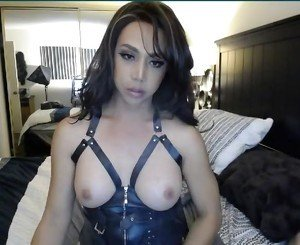 Gorgeous Tranny Plays Her Big Cock