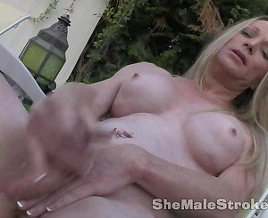 Blonde Shemale Laura Stroking
