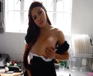 Asian Busty Ladyboy Hard At Work