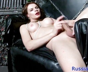 Glam russian tgirl playing with her